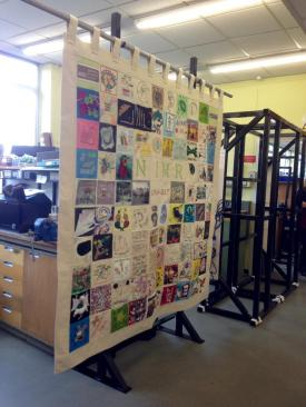 The NIMR canvas - a patchwork of squares from NIMR staff.