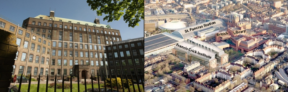 Side by side comparison of our current site, the NIMR and the soon to be complete Francis Crick Institute.