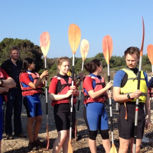 A few nervous smiles prior to our kayak excursion (3/4)